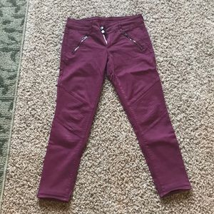 American eagle skinny crop stretch burgundy jeans